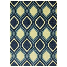 Woodgrain Stylin Ogee Blue/Yellow Area Rug