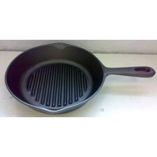 Cast Iron Ribbed Round Skillet