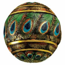 Peacock Feathered Orbs Decorative Accent Balls Figurine (Set of 3)