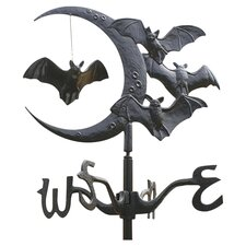 Moon and Bats Crescent Vampire Weathervane