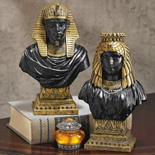 Egyptian Royalty 2 Piece King Rameses II and Queen Nefertari Bust Set