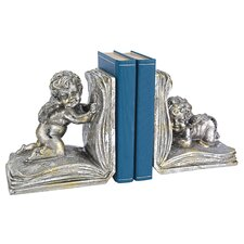 Heaven's Scholars Sculptural Cherub Bookends (Set of 2)