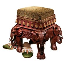 The Maharajah's Elephants Sculptural Upholstered Footstool