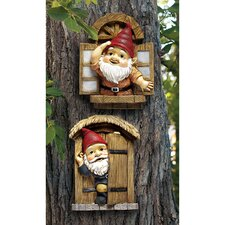 <strong>Design Toscano</strong> The Knothole Gnomes Garden Welcome Tree Statue (Set of 2)