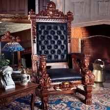 <strong>Design Toscano</strong> The Fitzjames Throne Leather Arm Chair