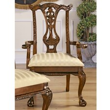 Cupid's Bow Chippendale Fabric Arm Chair