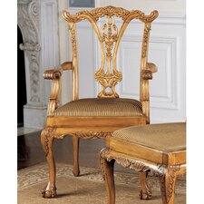 <strong>Design Toscano</strong> English Chippendale Fabric Arm Chair