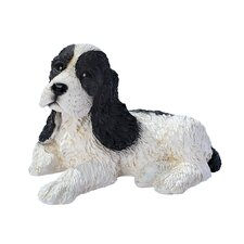Cocker Spaniel Puppy Dog Statue in Black and White