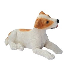 Jack Russell Puppy Dog Statue in Brown and White