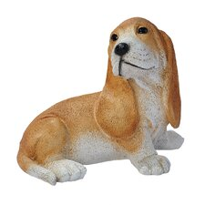 Basset Puppy Dog Statue in Brown