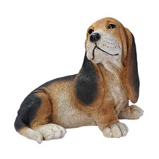 Basset Puppy Dog Statue in Black and Brown