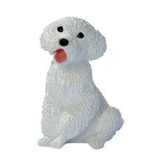 Poodle Puppy Dog Statue in White