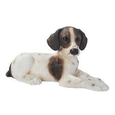 Pointer Puppy Dog Statue in Brown and White