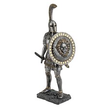 Greek Hoplite Warrior Statue in Faux Bronze