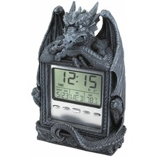 <strong>Design Toscano</strong> Dragon's Time LCD Alarm Clock in Grey Stone