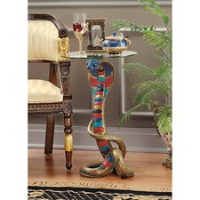 Renenutet Egyptian Cobra Goddess Glass Topped End Table