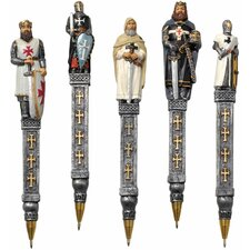 5-Piece Medieval Templar Knights Pen Set