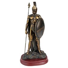 Legendary Spartan Warrior Statue in Verdigris Faux Bronze