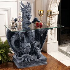 <strong>Design Toscano</strong> The Subservient Dragon Glass Topped Sculptural Console Table