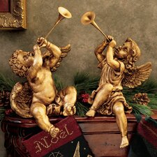 2-Piece Trumpeting Angels Statue Set in Faux Gold