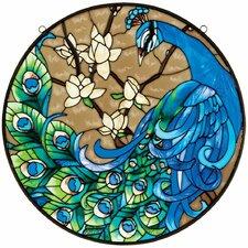 Springtime's Peacock Glass Art Panel