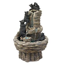 Resin Rocky Mountain Splash Black Bears Garden Fountain