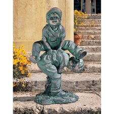 Leap Froggin Playing Boys Garden Statue