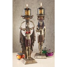 Egyptian Attendants to the Gods Sculptural Candlesticks (Set of 2)
