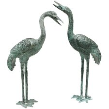Curved and Straight Neck Crane Statue Set