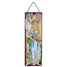 Secret Garden Fairies Hand-Painted Art Glass Panel