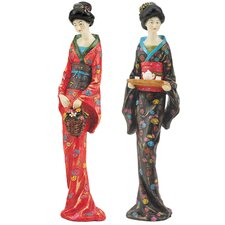 2 Piece Japanese Geisha Sadayakko and Koyukit Figurine Set