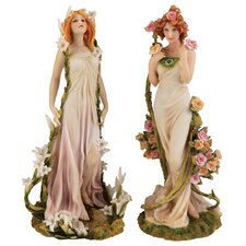 <strong>Design Toscano</strong> 2 Piece Spring Flower Twins Figurine Set