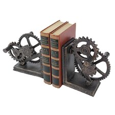 Industrial Gear Sculptural Iron Book Ends (Set of 2)
