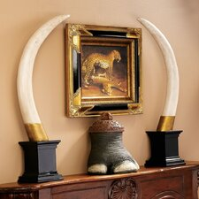 British Colonial Elephant Tusk Sculptural Trophy (Set of 2)