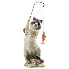 The Masked Fisherman Raccoon Statue