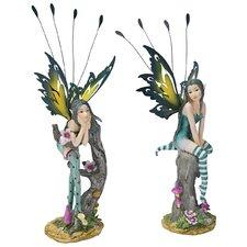 Lochloy House Fairy Twins 2 Piece  Statue Set