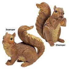 Woodland Squirrel Scamper and Chomper Statue (Set of 2)
