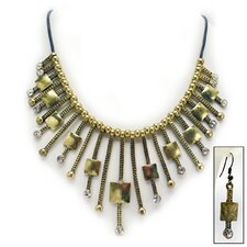 Glamorous Gal Art Deco Necklace and Earrings Ensemble
