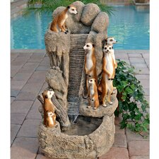 Resin Meerkat Family Watering Hole Fountain