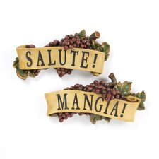 2-Piece Salute and Mangia Wall Sculpture Set