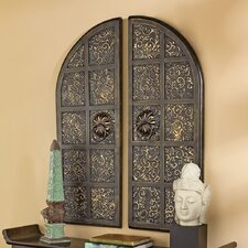 2 Piece Forbidden City Asian Temple Doors Wall Décor Set
