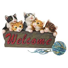 Kitten Kaboodle Cat Welcome Sign Figurine