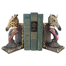 Serengeti Soiree Giraffe and Zebra Book Ends (Set of 2)