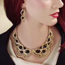 Lady Ginger Necklace and Drop Earrings Ensemble