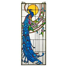Peacock's Sunset Stained Glass Window