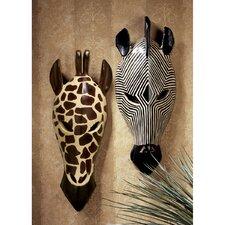 Tribal-Style Animal Wall Mask (Set of 2)
