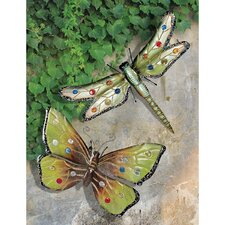 Dragonfly and Butterfly Wall Plaque Set