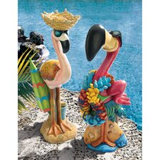 Pink Flamingo Garden Statue Set