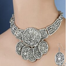 Ancient Talisman Necklace and Earrings Ensemble