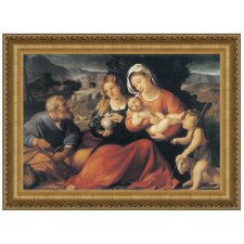 Holy Family with the Young Saint John and Mary Magdalene, 1490 by Palma Vecchio (Jacopo Negretti) Framed Painting Print